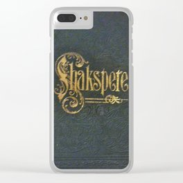 Antique Book Cover from 1800's  Literacy Lovers Blue  Gold  #Shakespeare  #Shakspere Clear iPhone Case