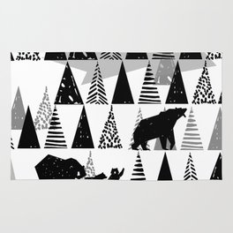 Black and white Forest Rug