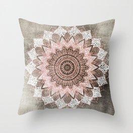 BOHOCHIC MANDALA IN CORAL Throw Pillow