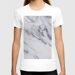 Marble - Black and White Gray Swirled Marble Design T-shirt