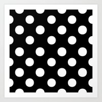 polka dots Art Prints featuring Polka Dots (White/Black) by 10813 Apparel