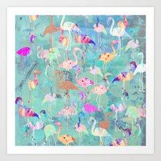 Flamingo Party  Art Print
