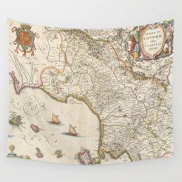 Vintage Map of Campania Italy (1662) Wall Tapestry