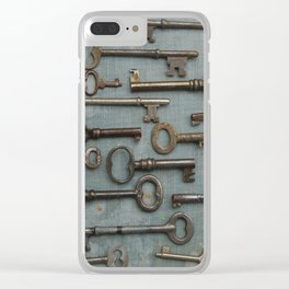 Vintage Skeleton Key Collection Clear iPhone Case