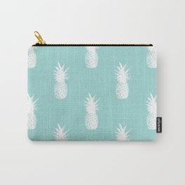 Pineapples - White on Teal Carry-All Pouch