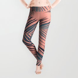 Blue Palm Leaves on Coral Pink #1 #tropical #decor #art #society6 Leggings