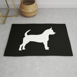 Chihuahua silhouette black and white pet art dog pattern minimal chihuahuas Rug
