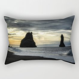 Sunset at the Black Sand Beach - Iceland Rectangular Pillow