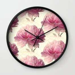 Antiqued Peony Wall Clock