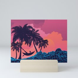 Palm trees on tropical island landscape, sunrise or sunset Mini Art Print