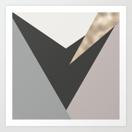 Abstract geometrical faux gold black gray triangles pattern Art Print