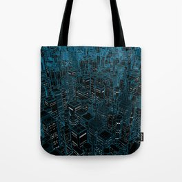 Night light city / Lineart city in blue Tote Bag