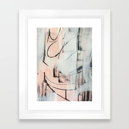 Sweet Tart: a minimal abstract mixed-media piece in pink black and white by Alyssa Hamilton Art Framed Art Print