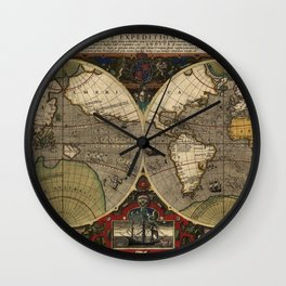1595 Vera Totius Expeditionis Nauticae - Map of Sir Francis Drake's Circumnavigation of the Globe Wall Clock