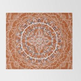 Detailed Burnt Orange Mandala Throw Blanket