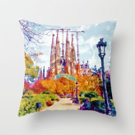 La Sagrada Familia - Park View Throw Pillow