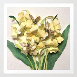 Oxlip Bees Art Print