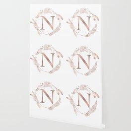 Letter N Rose Gold Pink Initial Monogram Wallpaper