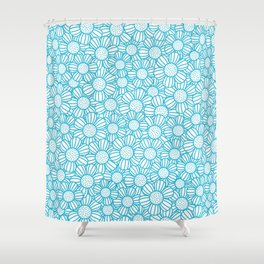 Field of daisies - teal Shower Curtain