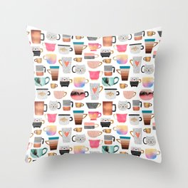 Coffee Cup Collection Throw Pillow