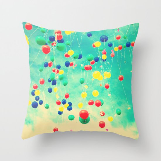 Let your wishes fly (Colour balloons in vintage - retro turquoise sky) Throw Pillow