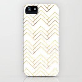 Art Deco Chevron Lines Bg White iPhone Case