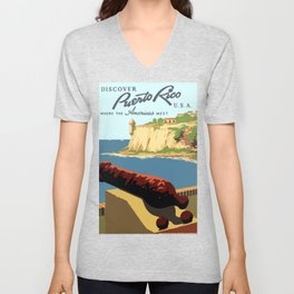 Vintage Discover Puerto Rico WPA Travel Unisex V-Neck