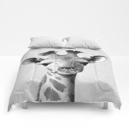 Baby Giraffe - Black & White Comforters