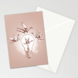 Origami paper cranes and light Stationery Cards