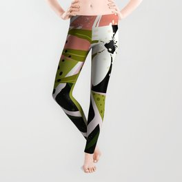 Tropical Flowers and Foliage 1940s Hollywood Bungalow Style Leggings