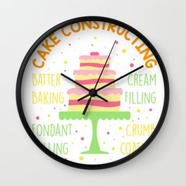 Cake Decorator Constructing Cakes - Desserts Baker Wall Clock
