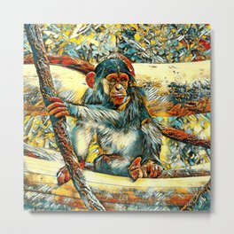 AnimalArt_Chimpanzee_20170905_by_JAMColorsSpecial Metal Print