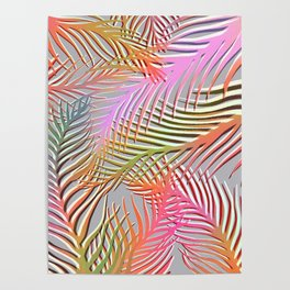 Palm Leaves Pattern - Pink, Gray, Orange Poster