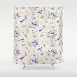 Chic Watercolour Blue Jay Spring Flowers Shower Curtain