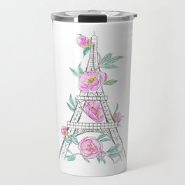 Eiffel tower and peonies Travel Mug