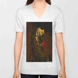 Chicago's Lions in Winter #2 (Chicago Christmas/Holiday Collection) Unisex V-Neck