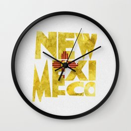 New Mexico Typographic Flag Map Art Wall Clock