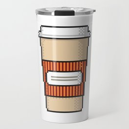 Coffee to go pixel art on white background. Travel Mug