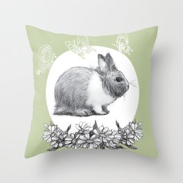Rabbit fluffy gray on a green background Throw Pillow