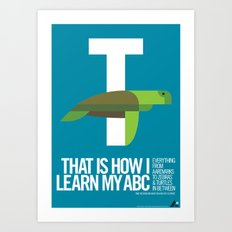 Animal Alphabet T Art Print