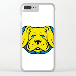 Super Yellow Lab Dog Wearing Blue Cape Clear iPhone Case