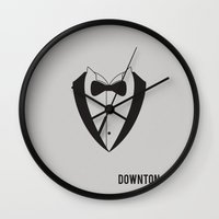 downton abbey Wall Clocks featuring Downton Abbey - Minimalist by Marisa Passos