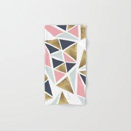 Modern geometrical pink navy blue gold triangles pattern Hand & Bath Towel