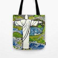 rio de janeiro Tote Bags featuring Rio de Janeiro - Brazil by Luciana Pupo