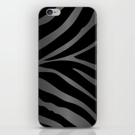 Black & Gray Metallic Zebra Print iPhone Skin