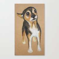 chihuahua Canvas Prints featuring Chihuahua by PaperTigress