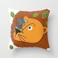 leon Throw Pillows featuring Mouse&Leon by Lara Savoia