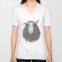 sheep V-neck T-shirts featuring Sheep by Thea Nordal