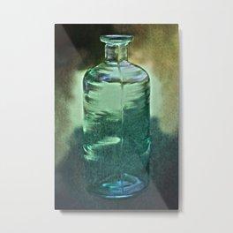 vintage green glass bottle Metal Print
