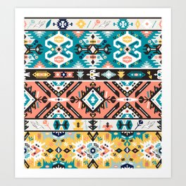 Tribal chic seamless colorful patterns Art Print